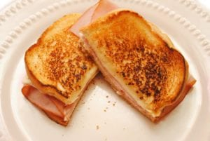 Grilled ham, cheese, and pineapple sandwiches